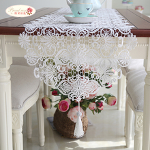 1 Piece European Contracted Heart Hollow-out Lace Table Runner/ The White Embroidered Table Runner/ Fashion Tassel Table Runner