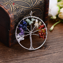 VEKNO 5CM Eternal Tree of Life Pendant Multicolor Natural Stones Jewelry Accessories Charm Agates Pendants For Necklace Making(China)