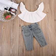 Newest Fashion Kid Baby Girl Clothes Set 2pcs Infant Children Off Shoulder Tops Vest Denim Pants Jeans Outfits Clothes Playsuits