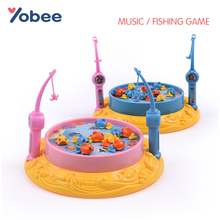 Music Electric Magnetic Fishing Toys Rotating Floating Fish Toy Fun Rod Educational Board Game for Kids Children Gift(China)