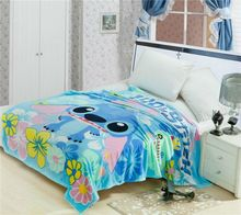 hot cartoon Stitch blanket bright color 3d hello kitty mickey printed blanket 150*200cm for baby children girl boy kid washable
