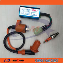 Performance 6 pin AC Racing CDI + Racing Ignition Coil GY6 + A7TC Spark Plug GY6 50cc 125cc 150cc 139QMB 152QMI 157QMJ Scooter