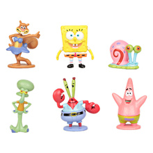 6pcs/set anime Esponja doll toys Sponge Bobby action figure toys for kids child decor in the fish tank or on the cake toys gift