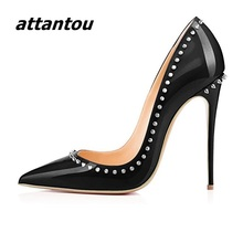 Buy Fashion Black Patent Leather High Heels Women Sexy Pointy Stiletto High Heel Pumps Trendy Rivets Slip-on High Heel Party Shoes for $29.90 in AliExpress store
