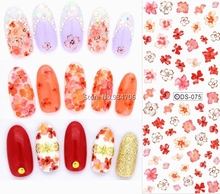 DS075 2017 Nail Design Water Transfer Nails Art Sticker Red Flowers Nail Wraps Sticker Tips Manicura Fingernails Decals