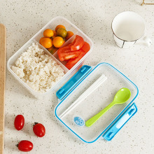 1Pcs 1250ml Capacity Transparent Compartments Lunch Bento Box Food Snack Container  (3 Colors Randomly)
