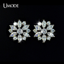 UMODE Luxury Round and Marquise cut Cubic Zirconia Stone Cluster Flower Stud Earring For Women Birthday Bijouterie UE0018(China)