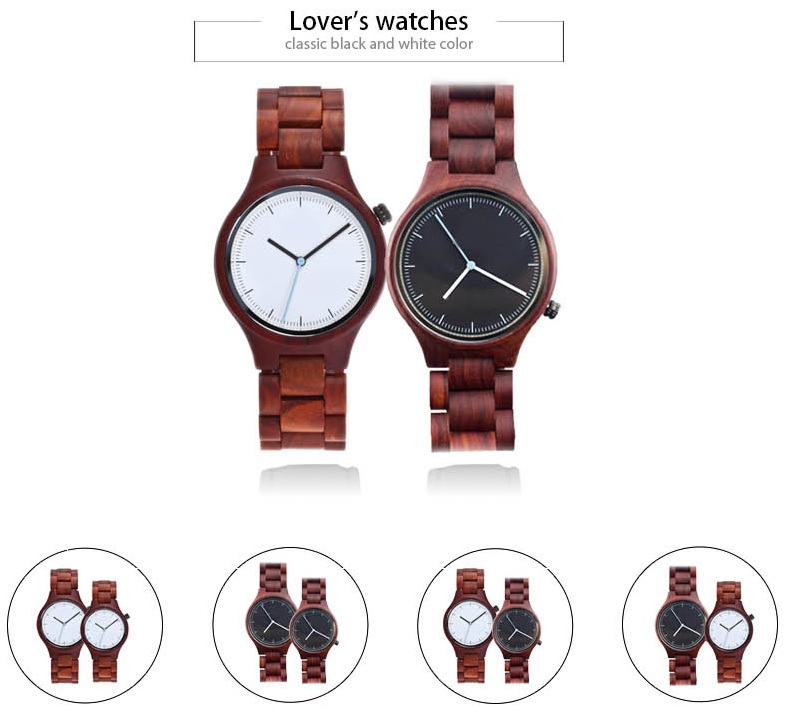 ALK VISION Top Brand Designer Men and Women Wood Watch Red sandal Wooden Quartz Watches fashion casual clock Relogio Masculino 5