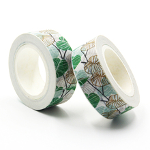 1 PCS Green Leaves Washi Tape DIY Decoration Scrapbooking Planner Masking Tape Adhesive Tape Kawaii Stationery Size 15mm*10m