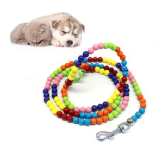 High Quality Pet Dog Traction Rope Colored Beads Training Pet Dog Leash Dog Strap Rope Traction Dog Harness Collar Lead