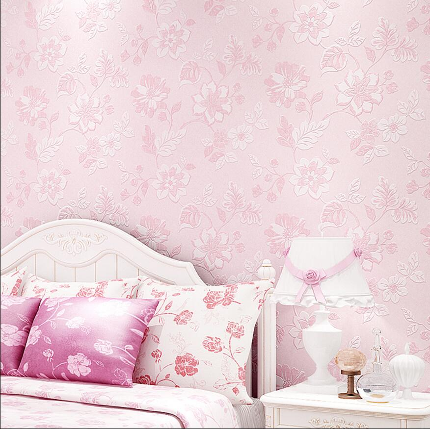 Pink flower wallpaper  purple fresh manglers wallpaper rustic non-woven wallpaper <br>