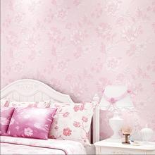 Pink flower wallpaper purple fresh manglers wallpaper rustic non-woven wallpaper(China)