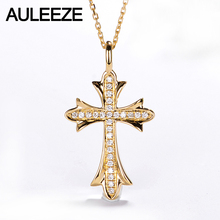 AULEEZE Classic Cross Diamond Pendant Necklace Jewelry 18K 750 Solid Yellow Gold Real Genuine Diamond Pendant 18K Gold Necklace(China)