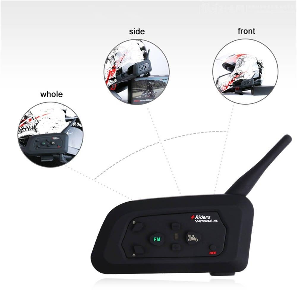 Vnetphone V4 Motorcycle Riders Helmet Intercom Bluetooth 3.0 Interphone Support 4 People Real-time Intercom upto 1200M Range