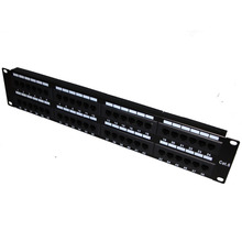 48 Ports UTP Cat 6 Unshield Network Patch Panel 2U Height without Rear Cable Management Fluke Passed Rack Mounted(China)
