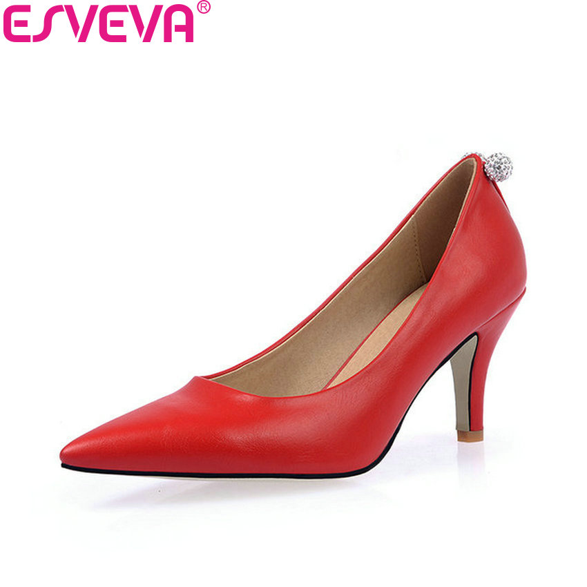 ESVEVA 2018 Slip on Women Pumps Shoes Concise Crystal Thin High Heels Wedding Pointed Toe Black Pumps Ladies Shoes Size 34-43<br>