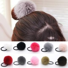 20pcs lady girl Faux Fur Fluffy Ball Pom Pom Scrunchies pompon Elastic Ponytail Holder hair rope hair ties accessories GR102