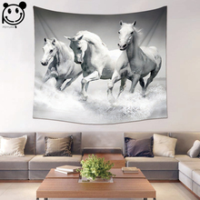 PEIYUAN Wall Hanging Tapestry Polyester Fabric Digital Print Horse and Zebra Beach Towel Yoga Mat Blanket Table Cloth(China)