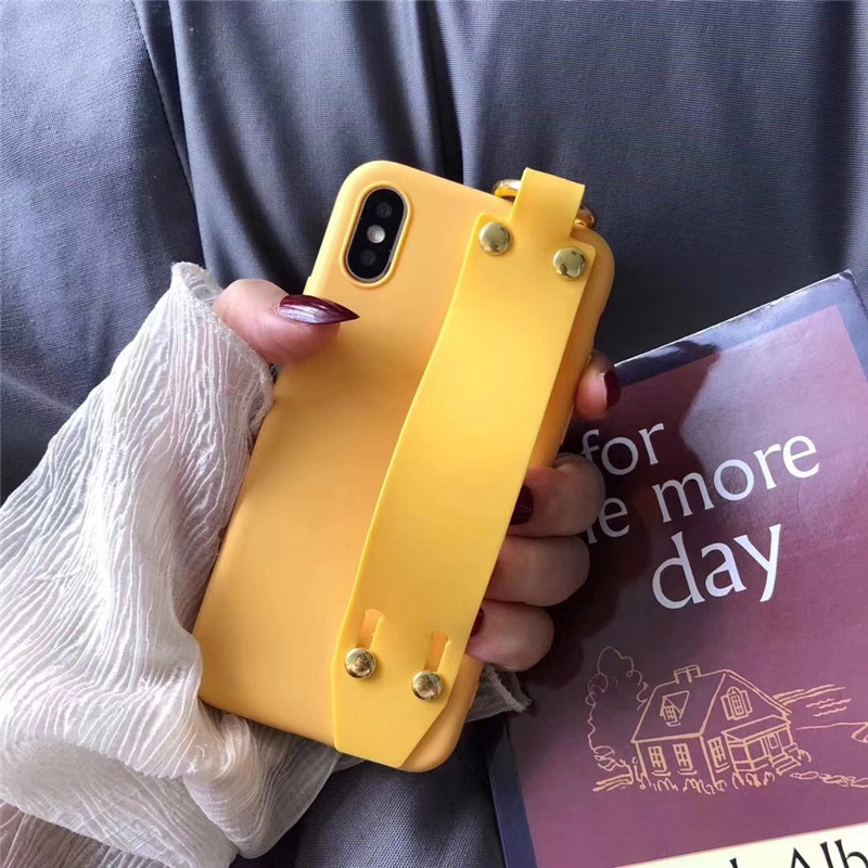 LUDI Vintage Wrist Strap Phone Case for iPhone 7 7Plus Case for iPhone X 6 6s 8 Plus Yellow Purple Black Plain Soft Silicon Capa2