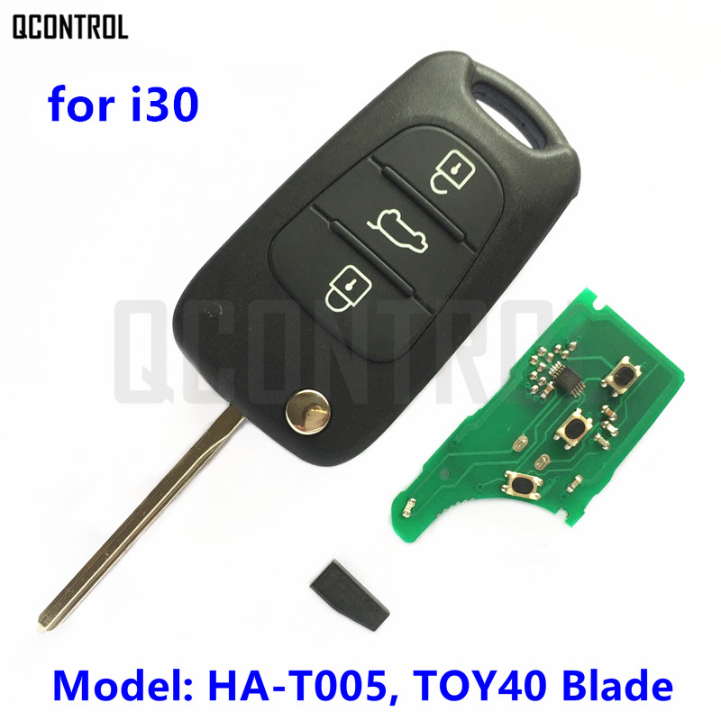 QCONTROL Remote Key HA-T005 CE0678 for HYUNDAI i30 433MHz TOY40 Key Blade ID46 Transponder Chip(China)