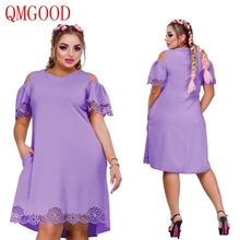 QMGOOD Large Size 6XL Dress Short Sleeves Hollow Out Spliced Lace Plus Size Solid Dresses S Fat MM Casual Polyester Clothes(China)