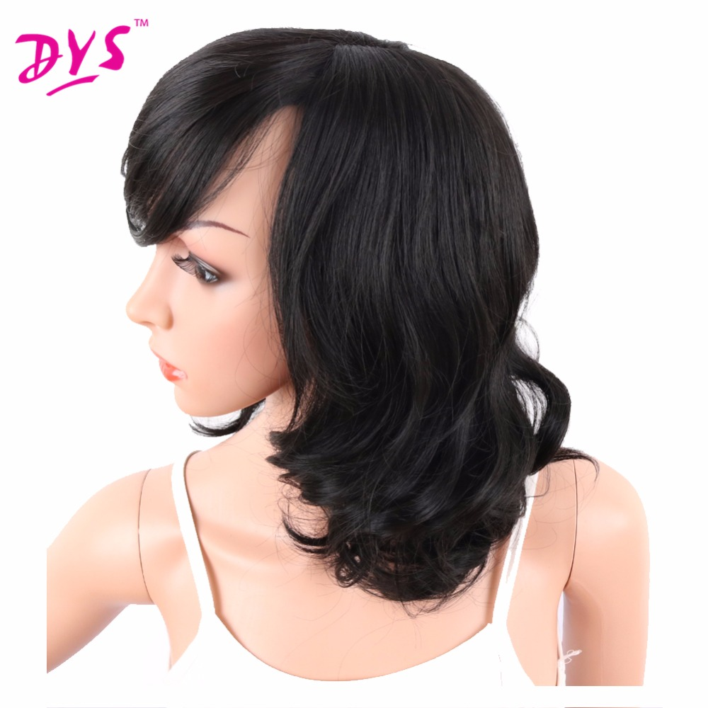 Deyngs Big Curly Synthetic Wigs with Bangs Japanese Kanekalon Fiber Heat Resistant Full Wigs for Women Girls Lady Natural Black (5)