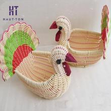 1Pcs Artificial Peacock Storage Basket Home Organizer Animal Container Handmade Fruit Basket New Style(China)