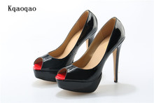 Red Lady Peep Toe Pumps Patent Leather High Heels Women Shoes Wedding Stilettos Sole Platform Sandals Zapatos Mujer Scarpin(China)