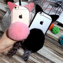 For Samsung S6 S7 edge S8 plus Note 4 5 8 Cute Cartoon Cat ear Tail Transparent Phone case Plush Fur Ball Soft TPU Back Cover(China)