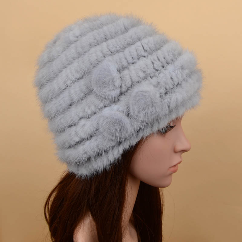 mink fur hat 3flowers grey 3