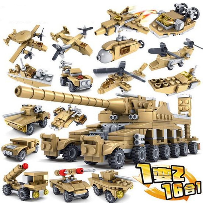 544pcs-Brand-Compatible-Army-Series-16-in-1-Super-Fire-Tank-Assembly-Transformation-Toy-Small-Particles (2)