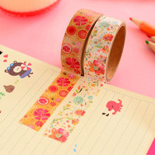 2 pcs/box beautiful garden flower Decorative adhesive tapes Paper washi tape 15 mm*10m scrapbooking stationery school supplies(China)
