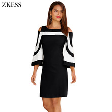 Buy ZKESS Women Black White Color Block Office Mini Dress Sexy Cold-shoulder 3/4 Long Sleeved Autumn Dresses Back Zipper LC220190 for $16.67 in AliExpress store