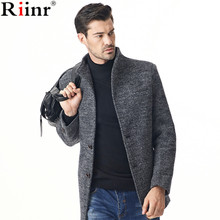 Riinr 2017 Fashion New Arrival Mens Overcoat High Quality Autumn&Winter Solid Color Single Breasted Trench Coat Overcoat Jacket(China)
