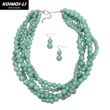 KOSMOS-LI Multi Layer Africa Knit Necklace New Fashion Resin Bead Bohemian Statement Necklace For Women Hyperbole Jewelry 6550