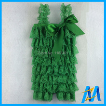 Lace Ruffle Baby Clothes Straps Ribbon Bow Baby Green Lace Rompers Baby Clothes Newborn Jumpsuit 24pcs Mixed Sizes Colors /Lot(China)