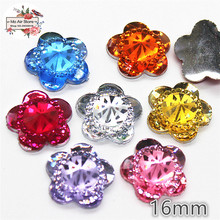 50pcs shiny Mix color flower Acrylic rhinestone Flat back Cabochon Art Supply Decoration Charm Craft DIY 15mm no hole(China)