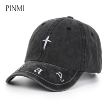 PINMI Embroidery Cross Baseball Cap Men Letter Street Rap Snapback Hat Women Casual Adjustable Unisex Hip Hop Cap Dad Hats Bone