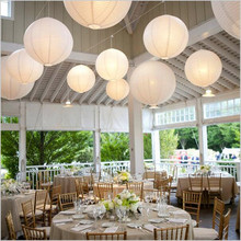 12pcs/Lot 20Cm(8'') Round White Paper Lanterns DIY Chinese Japanese Ball Lampions Wedding Birthday Party Garden Christmas Decor