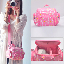 Pink Flower PU Leather Women Men Handbag Camera Shoulder Messenger Photo Video Bag Insert Case For Canon Nikon Sony Pentax DSLR