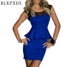 2017 New Fashion Chest Soft Gauze Mesh Women Blue Lady Sexy OL Peplum Dress clothing Bodycon Dresses BLKPXDS 10 8973(China)