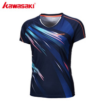 KAWASAKI Summer Fitness Women Sports T-Shirt Quick Dry Badminton Table Tennis T Shirt Short Sleeve V Neck Sportswear ST-172004