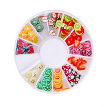 2017 New Wholesale 3D cake Fimo Nail Art wheel Fruit Slices Decoration Nail tips Manicure