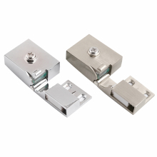 1Set Zinc alloy Glass Door Hinge Up and Down Hinges No Installation Hole Cabinet Door Glass Hinge Glass Clip for Wine Cabinet(China)