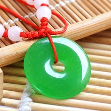 Natural green stone pendant peace buckle auspicious pendant jewelry for men and women