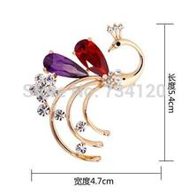 Free shipping crystal brooch rhinestone peacock female pin brooch costume brooches women collar pins clips gift wholesale