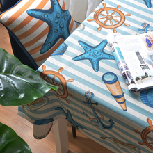 Mediterranean Sea Ocean Linen Table Cloth Cover Dining Customize Tablecloth Coffee Restaurant Decorative Cloth Cover