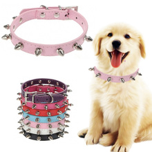 Pet Dog Leash Studded Spiked Collars For Dog PU Leather Small Dog Collar Puppy Perro Collar Pet Accessories Mascotas 4 Color(China)