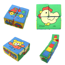 3D Cloth Building Blocks Baby Train Iorry Chimney Chick Bear Soft Rattle Educational Toys Infant Soft Fabric Cubes