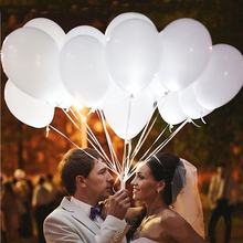 5pcs/lot LED Balloon Light ball 12 Inches White Latex  Helium Balloon glow Balloon birthday party supplies Wedding Decoration